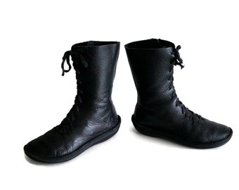 LNCS boots 0f Holland Eu Size 38 UK 5 US 7,5 Black genuine leathe Lace up boots  Womens ankle boots Tied booties Laced boot