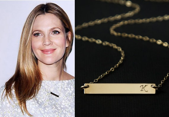Gold bar necklace initial bar personalized name bar like this item mozeypictures Images