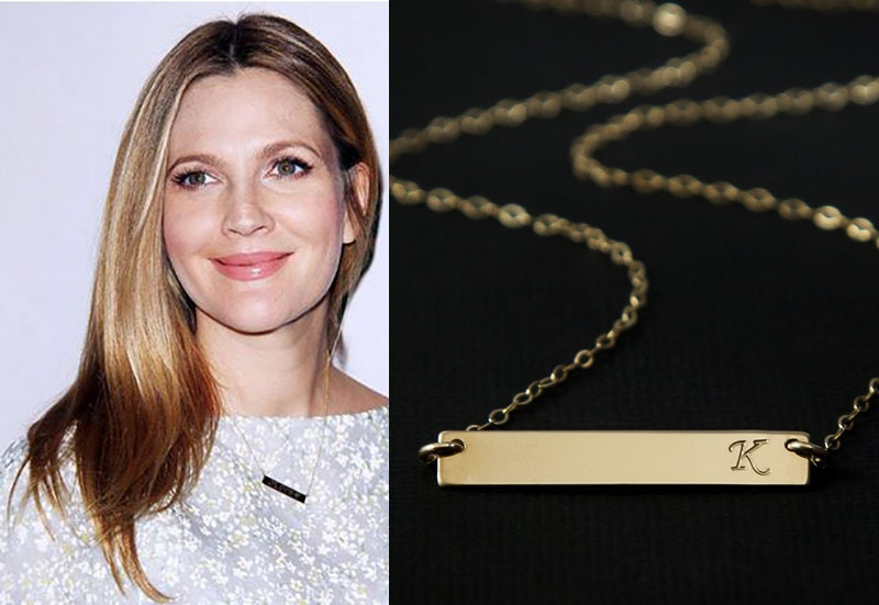 Gold bar necklace initial bar personalized name bar zoom aloadofball Gallery