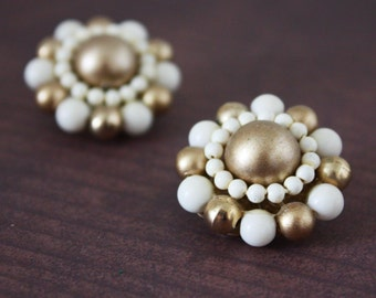 Gold and Cream Bead Cluster Earrings - Vintage Costume Jewelry