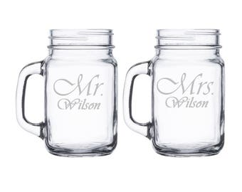 Mr. and Mrs. Mason Jar Mugs Personalized with Name / Set of 2 / Custom Engraved Beer Mugs Personalized Wedding Gift : Anniversary / Custom