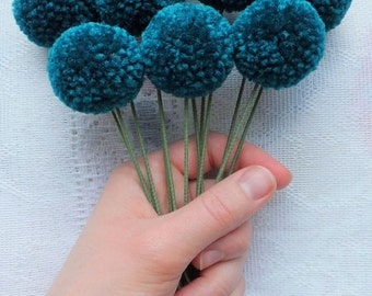 Teal Yarn Pom Pom Flowers: Set of 12