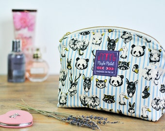 Animals Blue Cosmetic Bag Makeup Bag Brush Holder Wash Bag Makeup Organizer Toiletry Storage Travel Bag Zipped Pouch Panda Rabbit Stag Cat
