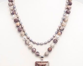 Noreena Jasper and Pearl Sterling Silver Necklace Set