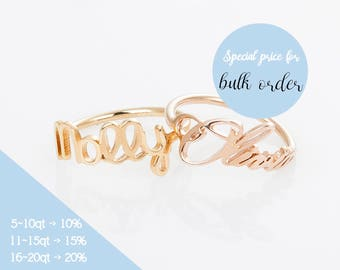 Customized Ring, Personalized Jewelry, Love Ring, Gold Band Ring, Pink Gold Ring, Custom Engraved Ring, Mom Gift, Signature Jewelry