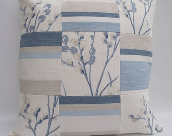 Blue Patchwork Cushion. Laura Ashley Fabric Pillow, Blue Cushion, Stripe and  Floral Cushion, Decorative Pillow, Scatter Cushion, Zip Pillow