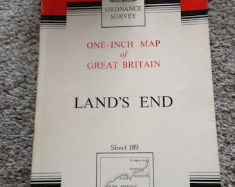 Vintage Ordnance Survey Map No. 189.   Lands End.   1966