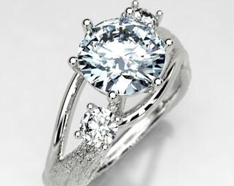 Moissanite Twig Engagement Ring - Koa Bark Texture Tree Ring - White Gold Rustic Alternative Engagement Ring - Size 4 Fairy Engagement Ring