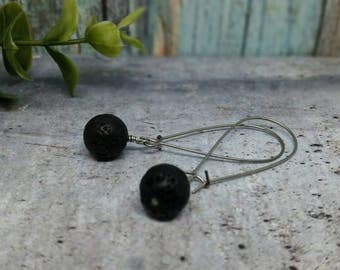 Lava rock diffuser earrings stainless steel kidney wires