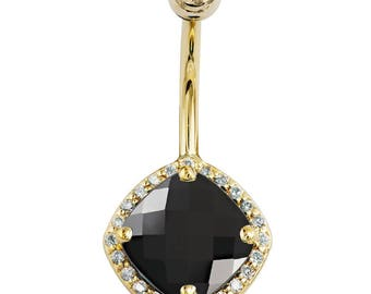 Black Onyx & Diamond Antiqued Cushion Cut 14K Yellow Gold Belly Ring
