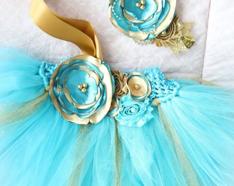 Gorgeous Teal Gold Tutu Dress for Baby Girl 6-18 Months First Birthday, Teal Gold Satin Couture Dress