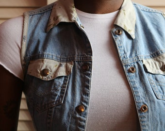 Vintage 90s Denim and Floral Vest