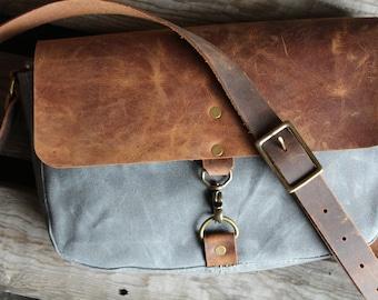 Waxed Canvas Messenger Bag, Small messenger purse, Waxed Canvas purse, Waxed canvas bag, messenger bag