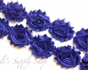 Royal Blue Shabby Rose Trim - Shabby Chiffon Rosettes - Solid Shabby Trim - Shabby Chiffon Flowers 1/2 Yard or 1 Yard
