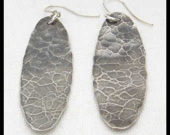 HAMMERED SHIELDS - Handforged Hammered Oxidized Long Pewter Oval Shield Earrings