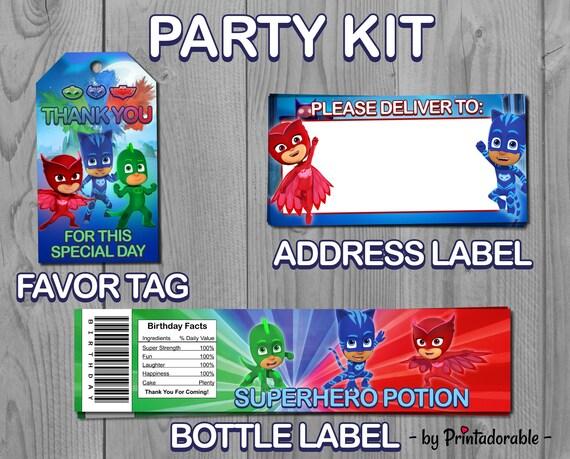 PJ Masks Party Set - Pj Masks Party Kit - Pj Masks Birthday - Pj Masks Label - Pj Masks Tag - Pj Masks - Pj Masks Printable - Catboy - Gekko