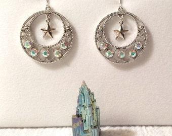 """Clear AB Crystal """"Go-Go"""" Earrings with Star"""
