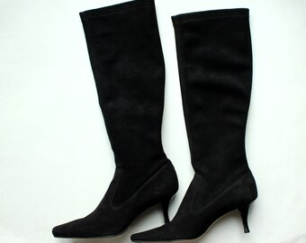 VINTAGE Women's black size 8 COLE HAAN tall boots, classic suede black boots, black suede tall boots, new in original box