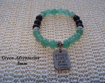 FREE SHIPPING Essential Oil Diffuser Bracelet Green Aventurine 'a friend LOVES at all times' Charm