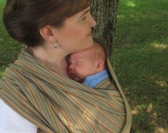 SALE Handloomed Woven Wrap Carrier/Baby Sling - Earthy Olive Wide Width - DVD included - Size 5 and 6 available