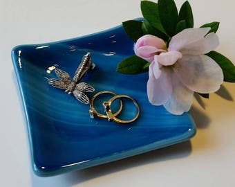 Blue Fused Glass Dish - Ring Dish - Jewelry Dish - Spoon Rest