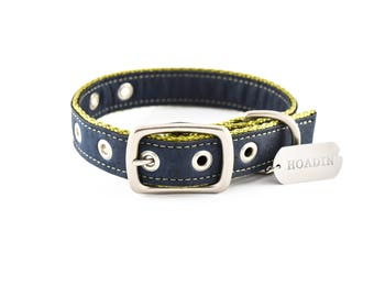 Navy & Olive Cork Dog Collar