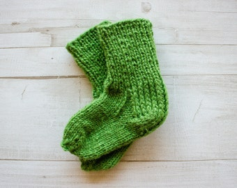 Baby Socks, Green Socks, Merino Wool Socks, Knitted Socks, Gift For A Baby, Baby Shower Gift
