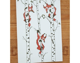 "Notebook - ""Foxes in birch trees"""