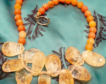 Orange Druzy and Citrine Necklace/Glamour/High Fashion/Resort
