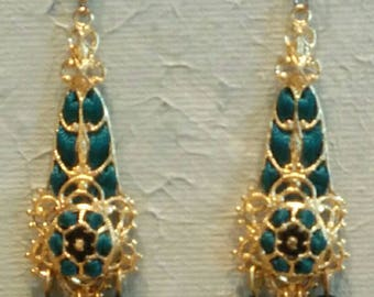 Handmade Ribbon and Filigree Chandelier Earrings with Crystal and Glass Beads