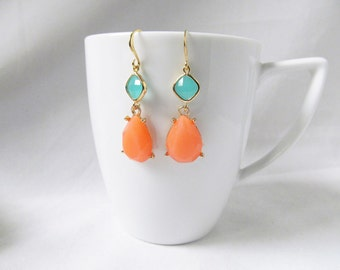 coral and mint earrings coral and mint wedding jewelry bridesmaids gifts fashion earrings