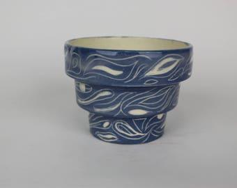 Porcelain Blue and White Carved Planter
