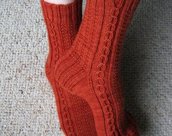 Cables with Texture Knit Socks Pattern - KELLEBECK SOCKS Knitting Pattern PDF - Digital Download