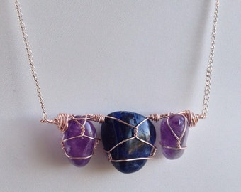 Bohemian Healing Crystal Necklace - Amethyst Statement Necklace - Gift for Sister Statement Necklace - Blue and Purple Statement Necklace