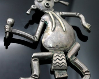 Handcrafted by Native American Silversmith Vintage Abstract Dancing Shaman Sterling Silver Collectible Pendant