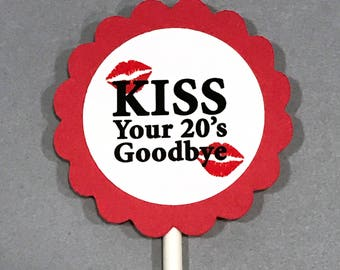 30th Birthday Cupcake Toppers - Kiss Your 20's Goodbye, Red and White, Set of 12, READY to SHIP
