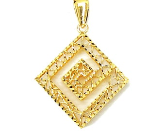 18K 21K 22K Yellow Gold MazePendant Necklace Special Jewelry for Her