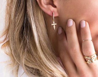Cross Earrings, Cross Earrings Gold, Cross Hoop Earrings, Dainty Cross Earrings, Cross Earrings, Gold Cross Earrings, Cross Hoop Earrings