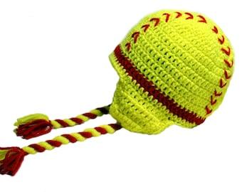 Softball Hat with Earflaps, Girls Softball Beanie, Teen Girls Hat, Spring Sports Hat, Softball Fan Hat, Spring Hat, Teen Girls Gift Team Hat