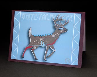 "White-Tailed Deer 4.25"" x 6"" Blank Greeting Card"