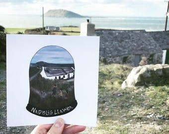 Cerdyn Nadolig Llawen Cymraeg Pen Llŷn Ynys Enlli Cymru | Welsh Merry Christmas Card of Bardsey Island and Llŷn Peninsula North Wales