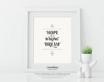 Hope is a Waking Dream, Aristotle, Printable Quote, Printable Art, Inspirational Art, Home Decor, Vintage Typography, Instant Download,