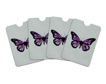 Butterfly with flowers credit card rfid blocker holder protector wallet purse sleeves set of 4