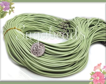 10 Light Green Finished Necklace Cords - Green Necklace Cords 19 inches
