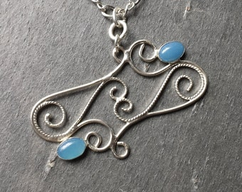 Sterling Silver Filigree and Blue Chalcedony  Pendant