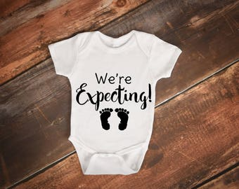 We're Expecting | Pregnancy Announcement Onesie | Baby ONESIES® | Pregnancy | Announcement | Reveal | To Daddy | To Grandparents | Pregnant