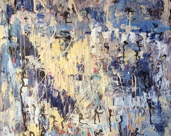 "Blue HarmonyAbstract Painting Original Abstract Art 24 x 24"""