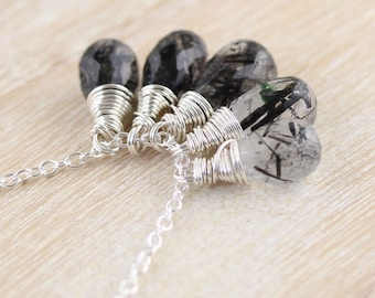 Black Rutilated Quartz & Sterling Silver Necklace. Wire Wrapped Gemstone Cluster Pendant. Boho Hippie Jewelry. Womans Layering Jewellery