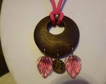 SALE/Hot Pink Necklace/Pink Suede Necklace/Wooden Necklace/Teens Necklace