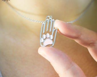Cat Necklace-Vet Necklace-Paw Necklace-Vet Student Gift-Graduation Gift-Cat Gift-Gift for Vet-Animal Lover Gift